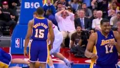 Andrew Bynum après le dunk de Blake Griffin