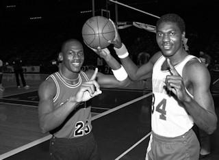 Michael Jordan & Akeem Olajuwon