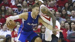 May 6, 2015; Houston, TX, USA; Los Angeles Clippers forward Blake Griffin (32) dribbles the ball as Houston Rockets forward Josh Smith (5) defends during the first quarter in game two of the second round of the NBA Playoffs at Toyota Center. Mandatory Credit: Troy Taormina-USA TODAY Sports