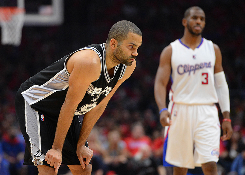 May 2, 2015; Los Angeles, CA, USA; San Antonio Spurs guard Tony Parker (9) and Los Angeles Clippers guard Chris Paul (3) in the first half of game seven of the first round of the NBA Playoffs at Staples Center. Mandatory Credit: Jayne Kamin-Oncea-USA TODAY Sports