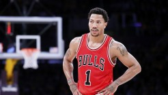 29 January 2015: Chicago Bulls guard Derrick Rose (1) rests during the Los Angeles Lakers 123-118 2OT victory over the Chicago Bulls, at the Staples Center, Los Angeles, California, USA.