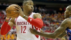 May 12, 2015; Houston, TX, USA;Houston Rockets center Dwight Howard (12) out reboundsLos Angeles Clippers guard Jamal Crawford (11) in the second half in game five of the second round of the NBA Playoffs at Toyota Center. Rockets won 124 to 103. Mandatory Credit: Thomas B. Shea-USA TODAY Sports