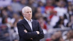 16 December 2013: San Antonio Spurs head coach Gregg Popovich is seen during the Los Angeles Clippers 115-92 victory over the San Antonio Spurs at the Staples Center, Los Angeles, California, USA.