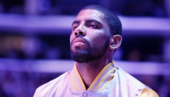 15 January 2015: Cleveland Cavaliers guard Kyrie Irving (2) stands during the national anthem prior to the Cleveland Cavaliers 109-102 victory over the Los Angeles Lakers, at the Staples Center, Los Angeles, California, USA.
