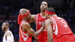 14 May 2015: Houston Rockets center Dwight Howard (12) celebrates with Houston Rockets guard Jason Terry (31) and Houston Rockets forward Josh Smith (5) during the Houston Rockets 119-107 victory over the Los Angeles Clippers, in game 6 of the Western Conference semifinals, at the Staples Center, Los Angeles, California, USA.