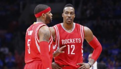 14 May 2015: Houston Rockets center Dwight Howard (12) talks to Houston Rockets forward Josh Smith (5) during the Houston Rockets 119-107 victory over the Los Angeles Clippers, in game 6 of the Western Conference semifinals, at the Staples Center, Los Angeles, California, USA.
