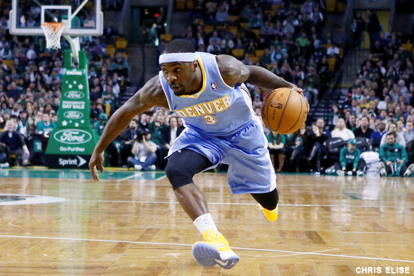 10 February 2013: Denver Nuggets point guard Ty Lawson (3) drives to the basket during the Boston Celtics 118-114 3OT victory over the Denver Nuggets at the TD Garden, Boston, Massachusetts, USA.