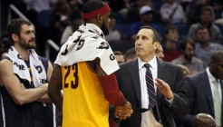 Dec 26, 2014; Orlando, FL, USA; Cleveland Cavaliers head coach David Blatt congratulates forward LeBron James (23) at the end of the game against the Orlando Magic at Amway Center. Cleveland Cavaliers defeated the Orlando Magic 98-89. Mandatory Credit: Kim Klement-USA TODAY Sports ORG XMIT: USATSI-187098 ORIG FILE ID:  20141226_pjc_sv7_154.JPG