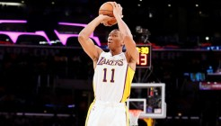 08 December 2013: Los Angeles Lakers shooting guard Wesley Johnson (11) takes a jumpshot during the Toronto Raptors 106-94 victory over the Los Angeles Lakers at the Staples Center, Los Angeles, California, USA.