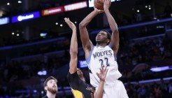 10 April 2014: Minnesota Timberwolves forward Andrew Wiggins (22) goes for the jump shot over Los Angeles Lakers forward Wesley Johnson (11) during the Los Angeles Lakers 106-98 victory over the Minnesota Timberwolves, at the Staples Center, Los Angeles, California, USA.