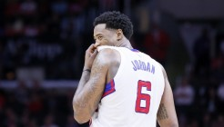 11 February 2015: Los Angeles Clippers center DeAndre Jordan (6) smiles during the Los Angeles Clippers 110-95 victory over the Houston Rockets, at the Staples Center, Los Angeles, California, USA.