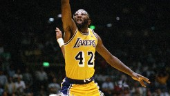 ** FILE ** Los Angeles Lakers' James Worthy goes up for a basket against the Boston Celtics in the NBA finals at The Forum in Inglewood, Ca., in this June 3, 1987 photo. Worthy and Robert Parish led a group of seven players, coaches and broadcasters elected Monday, April 7, 2003  to the Naismith Memorial Basketball Hall of Fame.(AP Photo/Lennox Mclendon) ORG XMIT: NY158