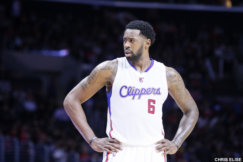 01 December 2014: Los Angeles Clippers center DeAndre Jordan (6) rests during the Los Angeles Clippers 127-101 victory over the Minnesota Timberwolves, at the Staples Center, Los Angeles, California, USA.