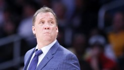 10 April 2014: Minnesota Timberwolves head coach Flip Saunders is seen during the Los Angeles Lakers 106-98 victory over the Minnesota Timberwolves, at the Staples Center, Los Angeles, California, USA.