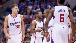 23 November 2013:Los Angeles Clippers power forward Blake Griffin (32), Los Angeles Clippers point guard Chris Paul (3), Los Angeles Clippers shooting guard Jamal Crawford (11), and Los Angeles Clippers center DeAndre Jordan (6) are seen during the Los Angeles Clippers 103-102 victory over the Sacramento Kings at the Staples Center, Los Angeles, California, USA.