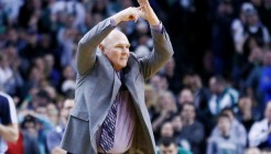 10 February 2013: Denver Nuggets head coach George Karl calls a time out during the Boston Celtics 118-114 3OT victory over the Denver Nuggets at the TD Garden, Boston, Massachusetts, USA.