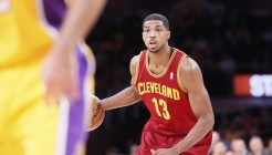 14 January 2014: Cleveland Cavaliers power forward Tristan Thompson (13) looks to pass the ball during the Cleveland Cavaliers 120-118 victory over the Los Angeles Lakers at the Staples Center, Los Angeles, California, USA.