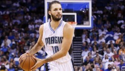 28 October 2015: Orlando Magic guard Evan Fournier (10) looks to pass the ball during the Washington Wizards 88-87 victory over the Orlando Magic, at the Amway Center, in Orlando, Florida, USA.