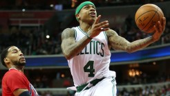 Jan 16, 2016; Washington, DC, USA; Boston Celtics guard Isaiah Thomas (4) drives to the basket against the Washington Wizards at Verizon Center. Mandatory Credit: Mitch Stringer-USA TODAY Sports