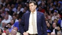 19 November 2015: Golden State Warriors head coach Luke Walton is seen during the Golden State Warriors 124-117 victory over the Los Angeles Clippers, at the Staples Center, Los Angeles, California, USA.