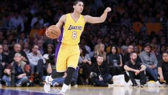 29 January 2015: Los Angeles Lakers guard Jordan Clarkson (6) brings the ball up court during the Los Angeles Lakers 123-118 2OT victory over the Chicago Bulls, at the Staples Center, Los Angeles, California, USA.