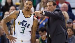 Nov 4, 2016; Salt Lake City, UT, USA; Utah Jazz head coach Quin Snyder talks with guard George Hill (3) during the first half against the San Antonio Spurs at Vivint Smart Home Arena. Mandatory Credit: Russ Isabella-USA TODAY Sports