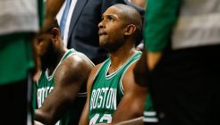 Oct 6, 2016; Greensboro, NC, USA; Boston Celtics center Al Horford (42) huddles with teammates during a timeout in the second half against the Charlotte Hornets at Greensboro Coliseum. The Celtics won 107-92. Mandatory Credit: Jeremy Brevard-USA TODAY Sports