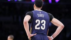 01 April 2015: New Orleans Pelicans forward Anthony Davis (23) rests during the New Orleans Pelicans 113-92 victory over the Los Angeles Lakers , at the Staples Center, Los Angeles, California, USA.