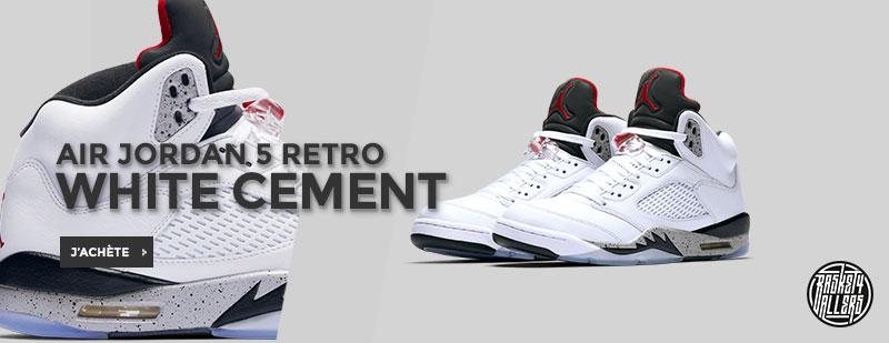 Commandez chez B4B la nouvelle Air Jordan 5 Retro White Cement dont le  coloris est tout droit inspiré d'un des coloris les plus mythiques de toute  la ligne ...