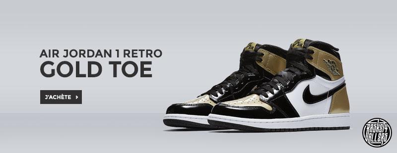 Commandez chez Basket4Ballers.com la Air Jordan 1 Retro Gold Toe qui  associe cuir verni blanc, noir et doré. La livraison est offerte.