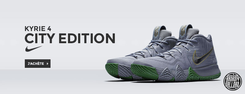 651f6aa200f54d Commandez chez B4B les Nike Kyrie 4 City Edition aux motifs hommage au  parquet du TD Garden des Boston Celtics.
