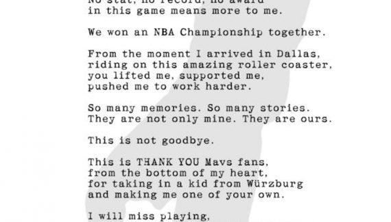 Dirk Nowitzki s'invite dans le journal pour remercier le public de Dallas
